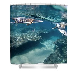 Surfers Over Reef. Shower Curtain by Sean Davey
