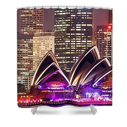Sydney Skyline At Night With Opera House - Australia Shower Curtain by Matteo Colombo