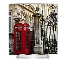 Telephone Box In London Shower Curtain by Elena Elisseeva