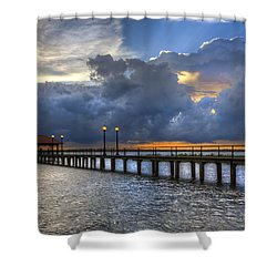 The Pier Shower Curtain by Debra and Dave Vanderlaan