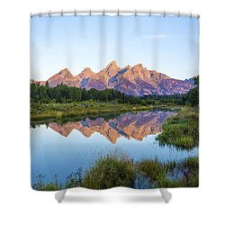 The Tetons Reflected On Schwabachers Landing - Grand Teton National Park Wyoming Shower Curtain by Brian Harig