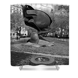 The W T C Plaza Fountain Sphere In Black And White Shower Curtain by Rob Hans