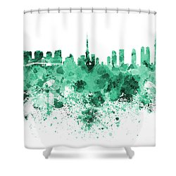 Tokyo Skyline In Watercolor On White Background Shower Curtain by Pablo Romero