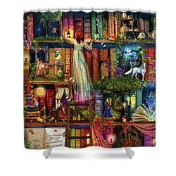 Treasure Hunt Book Shelf Shower Curtain by Aimee Stewart