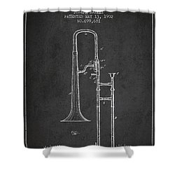 Trombone Patent From 1902 - Dark Shower Curtain by Aged Pixel