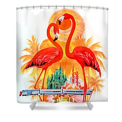 Vintage Florida Travel Poster Shower Curtain by Jon Neidert