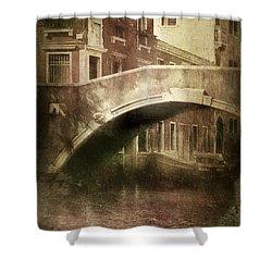 Vintage Shot Of Venetian Canal, Venice Shower Curtain by Evgeny Kuklev