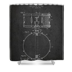 Snare Drum Patent Drawing From 1939 - Dark Shower Curtain by Aged Pixel