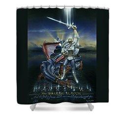 Warriors Dragon Slayer Shower Curtain by Cliff Hawley