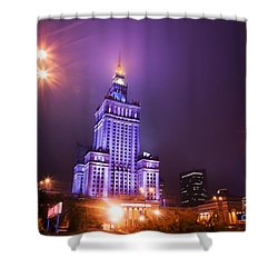 Warsaw Poland Downtown Skyline At Night Shower Curtain by Michal Bednarek