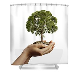 Womans Hands Holding Soil With A Tree Shower Curtain by Leonello Calvetti