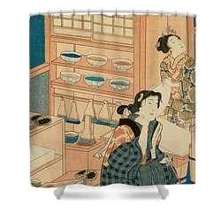 Woodblock Production Shower Curtain by Japanese School