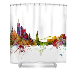 New York Skyline Shower Curtain by Michael Tompsett