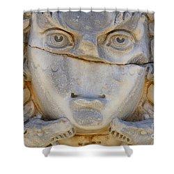 Sculpted Medusa Head At The Forum Of Severus At Leptis Magna In Libya Shower Curtain by Robert Preston