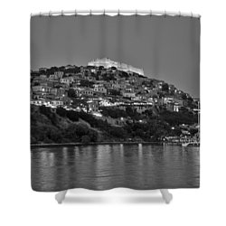 Molyvos Village During Dusk Time Shower Curtain by George Atsametakis