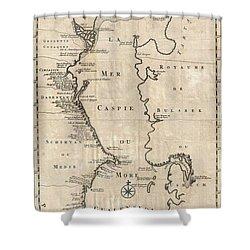 1730 Van Verden Map Of The Caspian Sea Shower Curtain by Paul Fearn