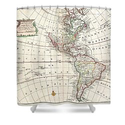 1747 Bowen Map Of North America And South America Shower Curtain by Paul Fearn