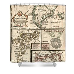 1747 Bowen Map Of The North Atlantic Islands Greenland Iceland Faroe Islands Shower Curtain by Paul Fearn