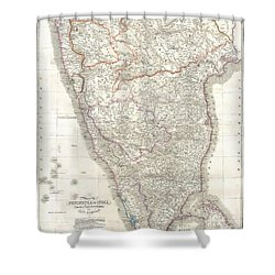 1838 Wyld Wall Map Of India Shower Curtain by Paul Fearn