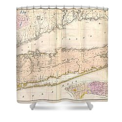 1842 Mather Map Of Long Island New York Shower Curtain by Paul Fearn