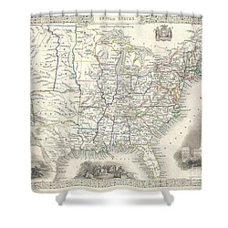 1851 Tallis And Rapkin Map Of The United States Shower Curtain by Paul Fearn