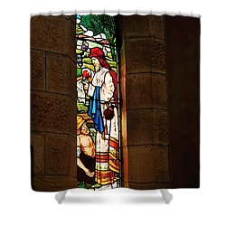 1865 - St. Jude's Church  - Stained Glass Window Shower Curtain by Kaye Menner