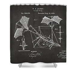 1879 Quinby Aerial Ship Patent - Gray Shower Curtain by Nikki Marie Smith