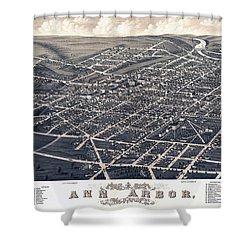 1880 Birds Eye Map Of Ann Arbor Shower Curtain by Stephen Stookey
