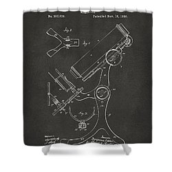 1886 Microscope Patent Artwork - Gray Shower Curtain by Nikki Marie Smith