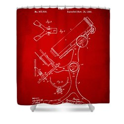 1886 Microscope Patent Artwork - Red Shower Curtain by Nikki Marie Smith