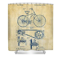 1890 Bicycle Patent Artwork - Vintage Shower Curtain by Nikki Marie Smith