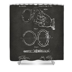 1891 Police Nippers Handcuffs Patent Artwork - Gray Shower Curtain by Nikki Marie Smith