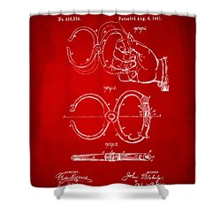 1891 Police Nippers Handcuffs Patent Artwork - Red Shower Curtain by Nikki Marie Smith