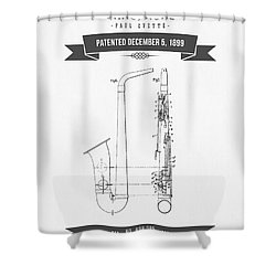 1899 Saxophone Patent Drawing Shower Curtain by Aged Pixel