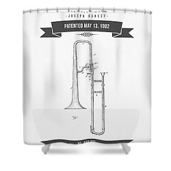 1902 Trombone Patent Drawing Shower Curtain by Aged Pixel