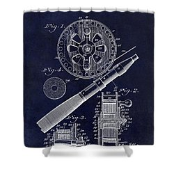1906 Fishing Reel Patent Drawing Blue Shower Curtain by Jon Neidert
