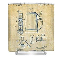 1914 Beer Stein Patent Artwork - Vintage Shower Curtain by Nikki Marie Smith