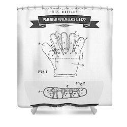 1922 Baseball Glove Patent Drawing Shower Curtain by Aged Pixel
