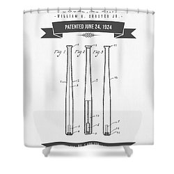 1924 Baseball Bat Patent Drawing Shower Curtain by Aged Pixel