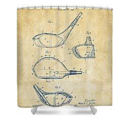 1926 Golf Club Patent Artwork - Vintage Shower Curtain by Nikki Marie Smith