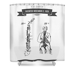 1926 Soprano Saxophone Patent Drawing Shower Curtain by Aged Pixel