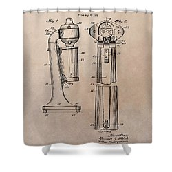1930 Drink Mixer Patent Shower Curtain by Dan Sproul