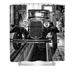 1930 Model T Ford Monochrome Shower Curtain by Steve Harrington