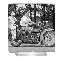 1930s Motorcycle Touring Shower Curtain by Daniel Hagerman