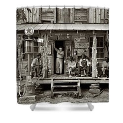 1930's Southern Gas Station Shower Curtain by Digital Reproductions