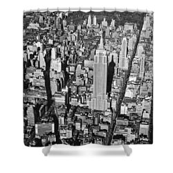 1934 Aerial View Of Manhattan Shower Curtain by Underwood Archives