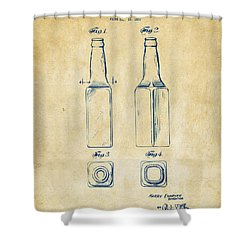 1934 Beer Bottle Patent Artwork - Vintage Shower Curtain by Nikki Marie Smith