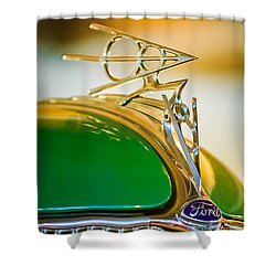 1936 Ford Deluxe Roadster Hood Ornament Shower Curtain by Jill Reger