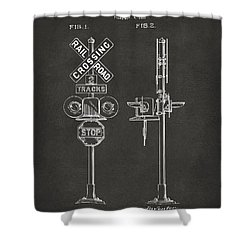 1936 Rail Road Crossing Sign Patent Artwork - Gray Shower Curtain by Nikki Marie Smith
