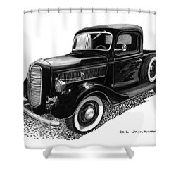 1937 Ford Pick Up Truck Shower Curtain by Jack Pumphrey